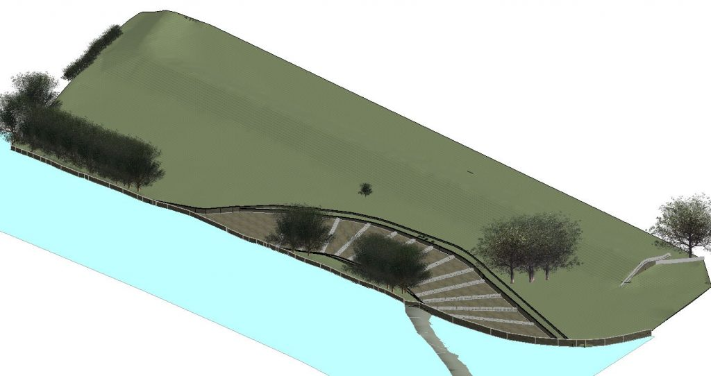 3D render of rough channel pool bypass